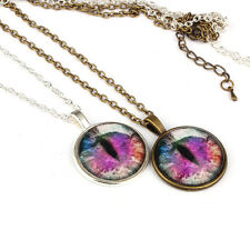 1PC Women Lady Purple Cat Pupil Necklace Sweater Chain Pendant Jewelry