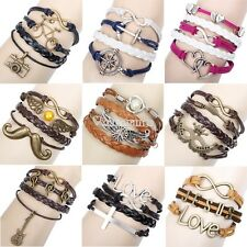 Infinity Alloy Anchor Rudder Leather Friendship Love Couple Charm Bracelet W3LE