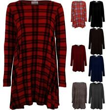 Ladies Long Sleeve A Line Stretch Swing Women's Casual Skater Flare Dress 8-26