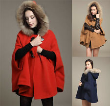 Womens Hooded Poncho Cape Coat Winter Warm Fur Shawl Wool Plus Jacket Cloak A