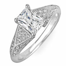 GIA Certified Diamond Engagement Ring 1.34 Carat Radiant and Round Shape