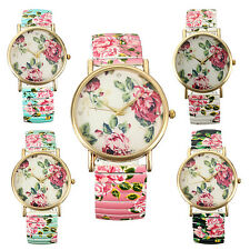 Women Ladies Elastic Band Designer Style Flower Print Floral Quartz Wrist Watch