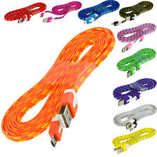 Braided Rope Micro USB Flat Noodle Data Cable 6FT For Samsung Galaxy S5 S4 S3 S2