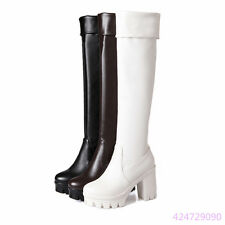 Womens Ladies High Square Heel Platform Over the Knee Boots Shoes US Size YB1212