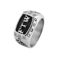 Mens FTW Middle Finger Stainless Steel Ring F The World Bike Mechanic Bolts Band
