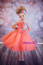 Glitz Diamante Sequins Wedding Flower Girl Pageant Party Dresses Size 2T-9 FG304