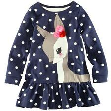Child Kid Baby Girls Long Sleeve Lace Dress One-piece Dots Deer Cotton Skirt A49