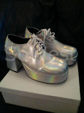 FANCY DRESS MENS SILVER 60s 70s GLAM ROCK PIMP PLATFORM SHOES for ABBA NIGHTS