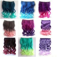 Two Tone One Piece Curl/curly/wavy Thick Gradient Hair Ombre Clip on extention