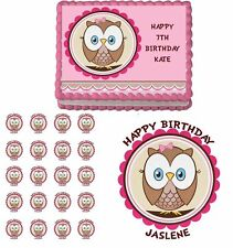 Look Who Is One Owl Edible 1st Birthday Cake Cupcake Toppers Party Decorations