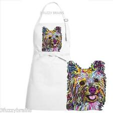 Colorful Abstract Yorkshire Terrier Yorkie Dog White Chef Designs Bib Apron
