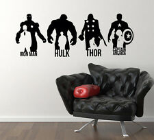 Marvel Iron Man Hulk Thor Captain America Hero  Decal Wall Art Sticker Picture