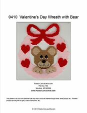 Valentine's Day Wreath with Bear- Plastic Canvas Pattern or Kit