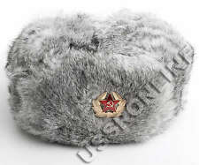 RUSSIAN GREY RABBIT FUR USHANKA COSSACK TRAPPER BOMBER SKI HAT GRAY s m l xl xxl