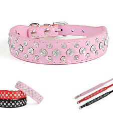 Buckle Necklace Pet PU Leather Adjustable Collar Strap Bling Cat Crystal Dog