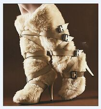 Womens Buckle High Heel Stilettos Fur Furry Roma Pull On Knee High Boots Shoes