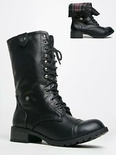 NEW SODA Women Combat Military Lace Up Plaid Lining Midcalf Boot sz Black Oralee