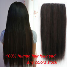 80g 5clips On One hairpieces 100%Real Human Hair Extensions Black,Brown,Blond US