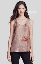 $158 EILEEN FISHER TANK TOP IN SEA SPRAY PRINT SILK LIGHT COPPER SMALL MED NWT