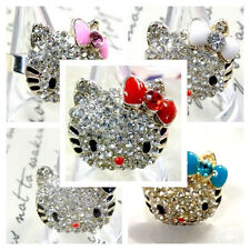 Upick Stainless Hello Kitty Cat Cute Rhinestone Adjustable Ring Fashion A0404