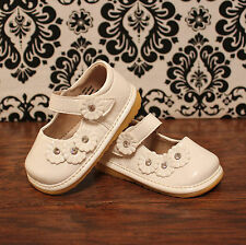 White Toddler Girls Mary Jane Squeaky Shoes, Sizes 3, 4, 5, 7, 8, 9