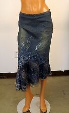 WEST 36TH BLUE GLITTER RHINESTONE BEADED LACED DENIM JEANS SKIRT #3393