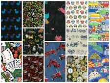 100% Cotton Fabric Cars, Tractors, Birds, Owls, Cat, Umbrellas by Metre SALE!!!