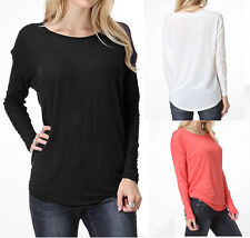 Drop Sleeve Dolman Long Sleeve Basic Stretch Solid Top High Low Tee Shirt