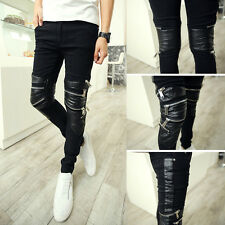 Men's Gothic Moto Biker Armor Jeans Skinny Zipper Punk PU Leather Patched Pants