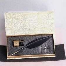 Vintage Style Red Black White Goose Feather Quill 3 Nib Pen & Writing Ink Set