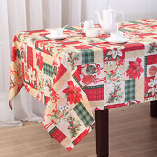 Holiday Christmas Gift Printed Fabric Tablecloth, Red / White Poinsettia, Cherub