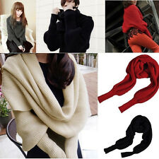 Women Lady Winter Warmer Knitting Wool Scarf With Sleeve Soft Wrap Shawl Scarves