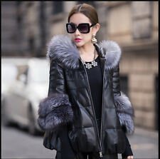 Plus Sz Winter Noble Luxury Womens Real Fur Short Leather Coat Jacket Outwear