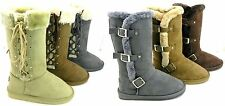 Latest Fashion Women Fur Lined Shearling Cold-weather Mid Calf Snow Boot Shoes