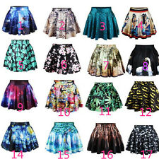 Fashion Women High Waist 3D Print Floral Skater Flared Dress Short Skirt 16 mode