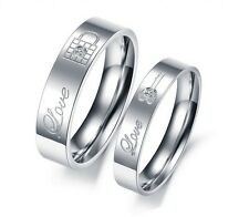 316L Couples/Lovers Rings Wedding Bands-Lock & Key with CZ - Per Pair 2 Rings.