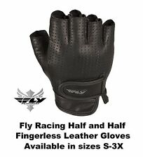 Fly Racing Leather Half and Half Fingerless Gloves Harley Davidson Riding