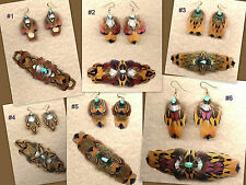 CUSTOM Large Real Feather Barrette/Earring Set - SHARP! ~ Handmade in USA!