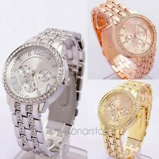 New Geneva Bling Crystal Women Men Unisex Stainless Steel Quartz Wrist Watch B9U