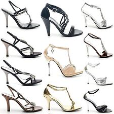 LADIES WOMENS PARTY PROM BRIDAL DIAMANTE EVENING HIGH HEELS SHOES SANDALS SIZE