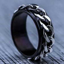 2015 New 316L Stainless Steel Black Chain Mens Spin Rings Fashion Men's Jewelry