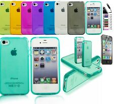 COQUE ETUI HOUSSE SILICONE GEL IPHONE 4/4S 5/5S + FILM + STYLET OFFERTS SS 48H