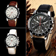 New Trendy Women Men Military Faux Leather Band Sports Analog Quartz Wrist Watch