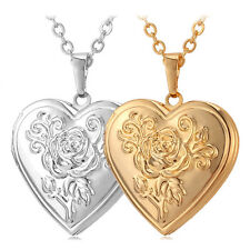 Heart Photo Floating Locket Necklaces Gold Plated Pendants For Women Jewelry