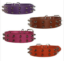 Medium Large Leather 2 Rows Spiked Studded Dog Collar Pitbull Terrier Size S M