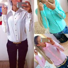 Fashion Women Chiffon Shirt Long Sleeve Button Down Casual Tops Blouse