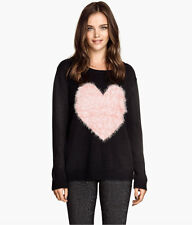 H&M Womens Black Chenille Pink Heart Sweater BNWT