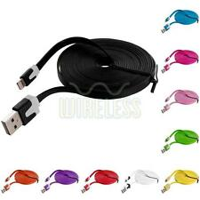 10 FT Noodle Flat Sync USB Data Charger Cable Cord 10FT for iPhone 5S 5 5C 6