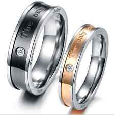 """Titanium Steel Promise Love Romantic """"the only eternal love"""" Couple Rings Gifts"""