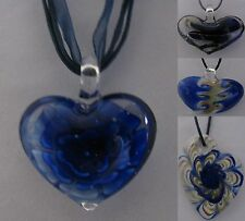 Handmade Heart Lampwork Murano Art Glass Pendant Necklace  Made in USA
